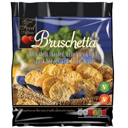 Bruschetta Snack Breads with Fried Onion 12 x 150g by Great Food Affairs